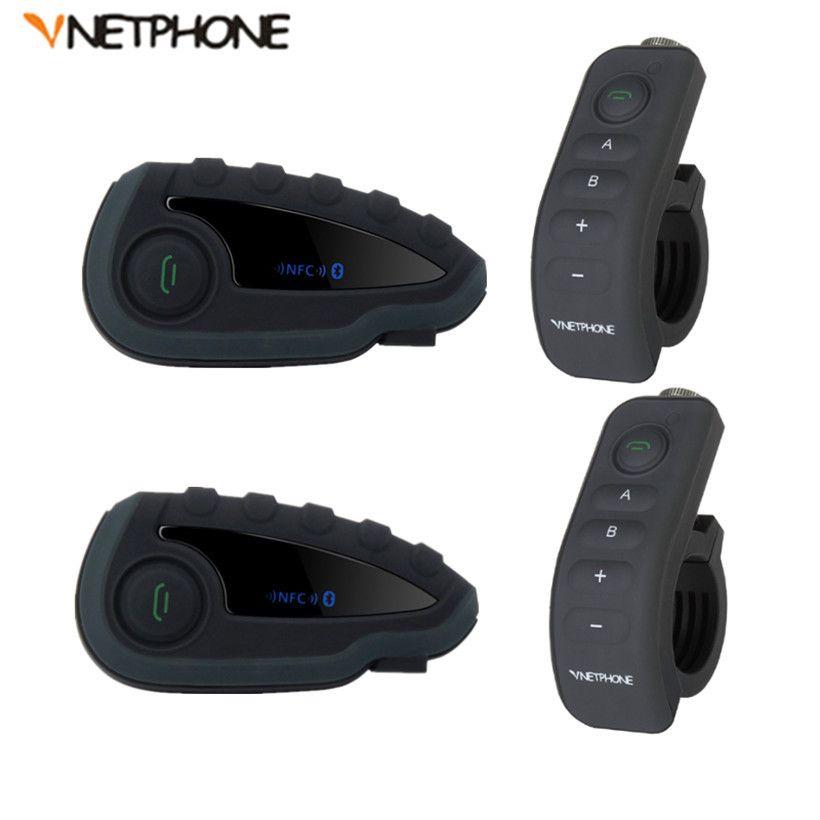 2 stücke V8 BT Sprech Intercom Headset Helm Motorrad 5 Reiter Bluetooth Kommunikation System Walkie Talkie NFC Fernbedienung