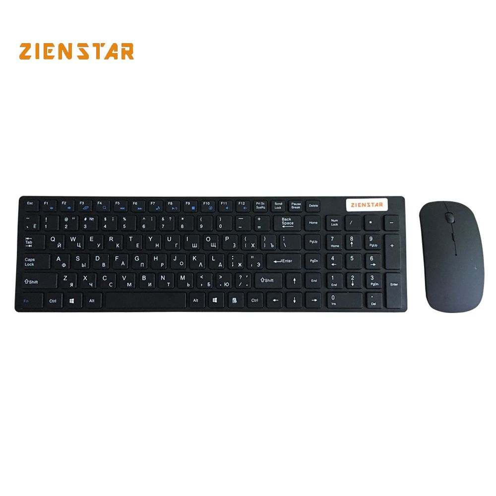 Zienstar Russian <font><b>2.4G</b></font> Wireless keyboard mouse combo with USB Receiver for Desktop,Computer PC,Laptop and Smart TV