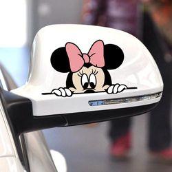 Aliauto Drôle De Voiture Autocollant Mignon Mickey Minnie Souris Peeping Couvrir Les Rayures de Bande Dessinée Rétroviseur Decal Pour Moto Vw Ford