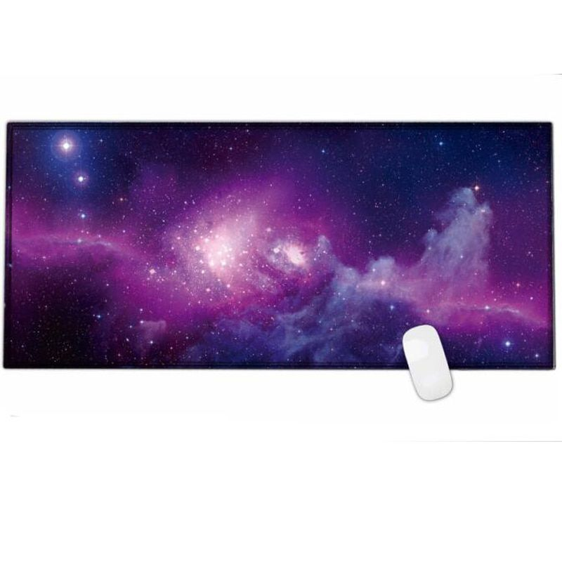 2018new Large Gaming Mouse pad 900x400 with The Milky Way galaxy & world map print & edge locking