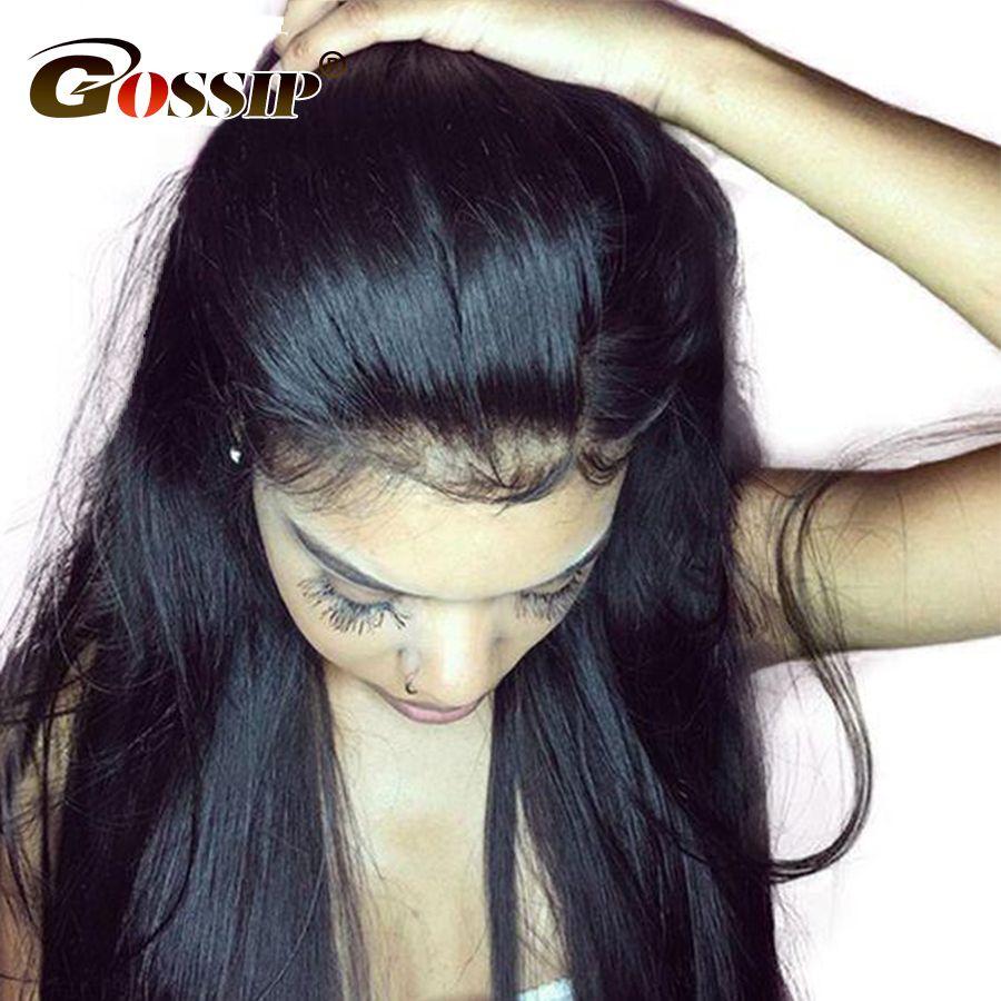 Malaisiens Cheveux Raides Avant de Lacet Perruques de Cheveux Humains Pour Les Femmes Noires potins Remy Dentelle Perruques de Cheveux Humains Avant de Lacet Perruques Femmes Noires