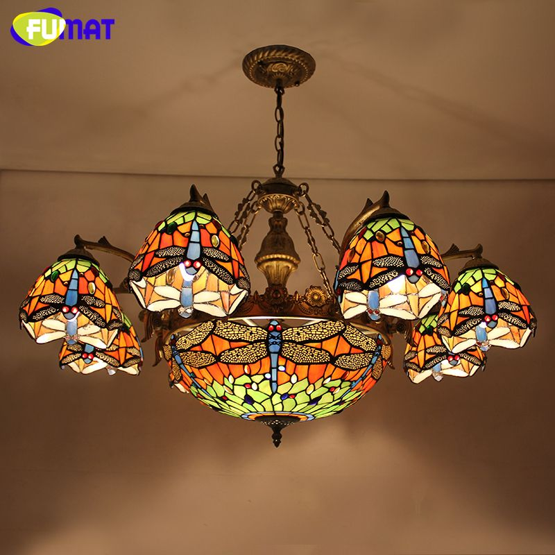 FUMAT Blue Dragonfly Chandelier European Style Artistic Stained Glass Suspension Light Bar Cafe Lamp Living Room Chandeliers