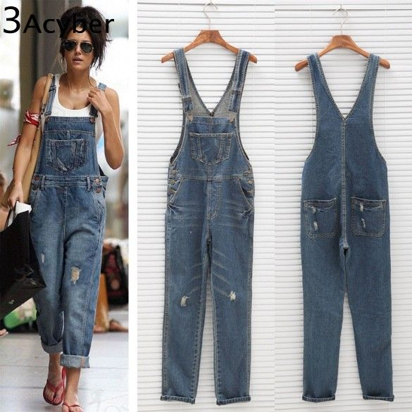 Korean Women Jumpsuit Denim Overalls 2018 Spring Casual Baggy Jeans Full Length Pinafore Dungaree Romper Women JumpsuitPlus Size