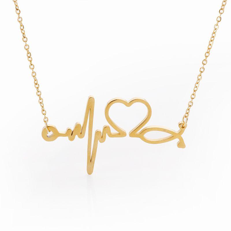 Acier inoxydable stéthoscope battement de coeur Collier femmes je t'aime coeur colliers et pendentifs Choker infirmière/docteur Collier Femme