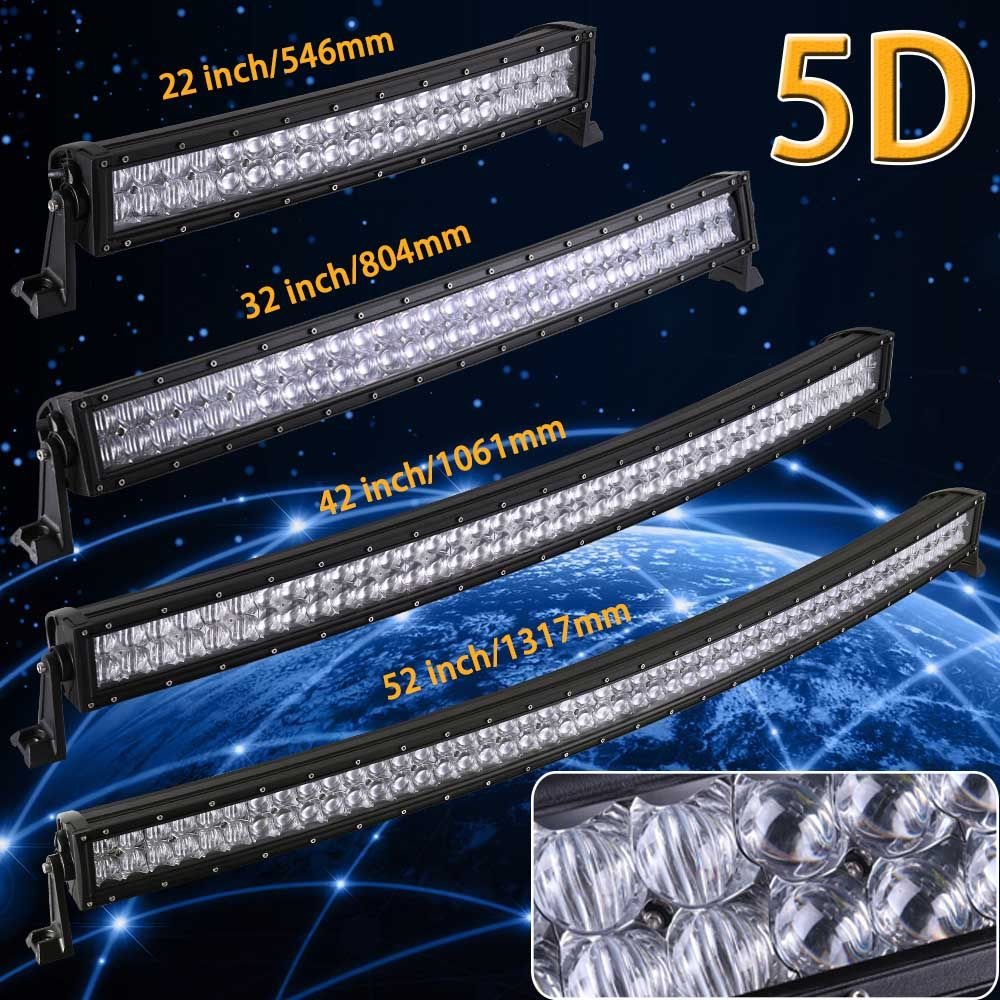 Real Power 5D 22 32 42 52 inch Curved LED Light Bar 12V 24V Combo Beam for Offroad Boat Car Truck ATV SUV 4WD 4x4 Work LED Lamp