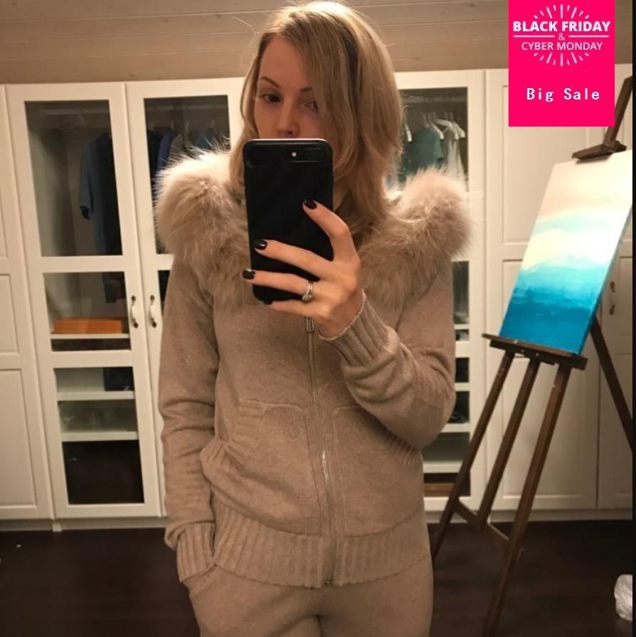 Winter Woolen + Kaschmir Gestrickte warme Anzug fuchs pelz mit kapuze Samt Pullover + Nerz Cashmere Hosen Freizeit Zwei-stück anzüge wj2811
