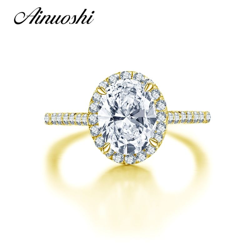AINUOSHI 10K Solid Yellow Gold Wedding Ring Fashion Valentines Aneis Feminino 2 ct Oval Cut Simulated Diamond Women Promise Ring