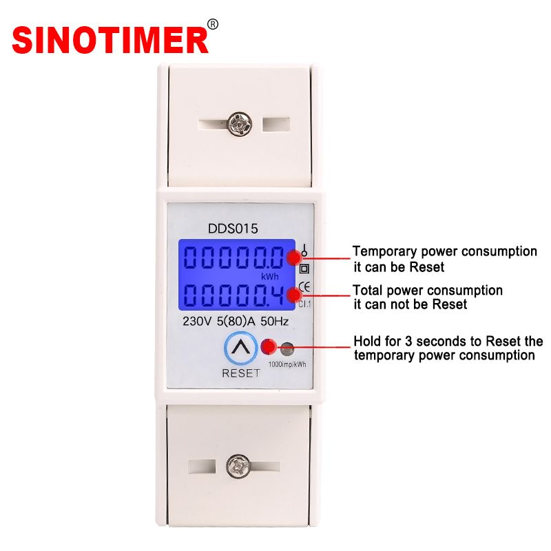 Backlights Single Phase Wattmeter Power Consumption Watt Electronic Energy Meter kWh 5-80A 230V AC 50Hz with Reset Function