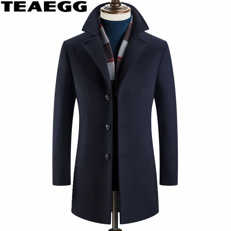 TEAEGG High Quality Winter Wool Coat Men Parkas 2017 Stand Collar Navy Mid Long Men Wool Coat Jackets Outwear Mens OvercoatAL573