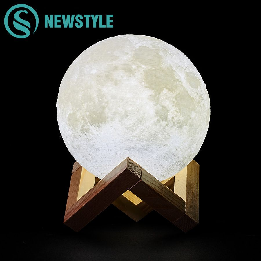 Creative 3D Print Moon Lamp Rechargeable Night Light 2 Colors Change Touch Switch Bedroom LED for Home Decoration Children Gift