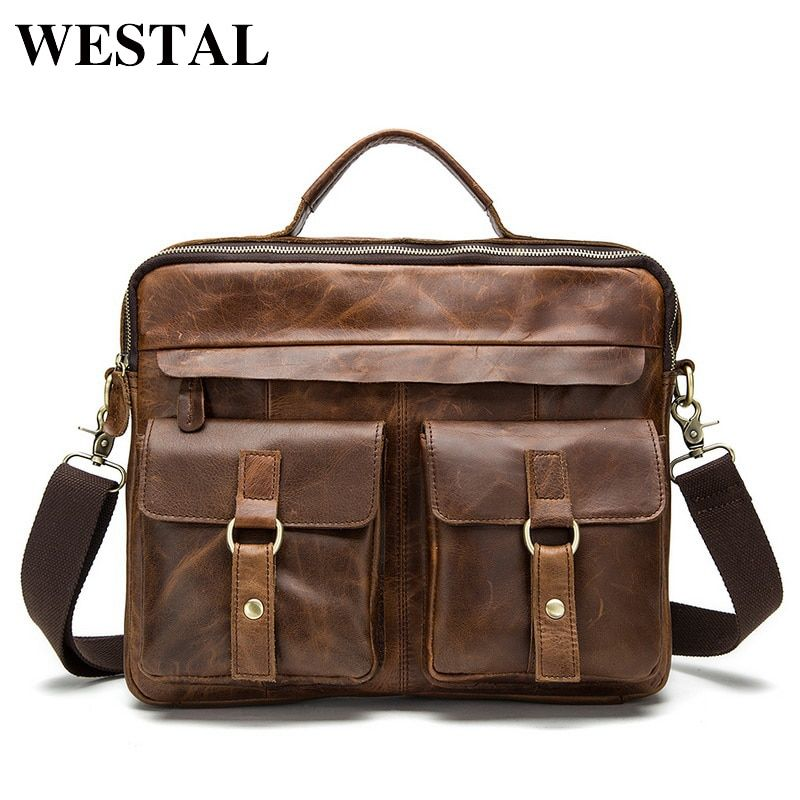 WESTAL Genuine Leather mens bags Crossbody Bags Casual Totes Men Briefcases Laptop messenger bag men's shoulder bag handbags