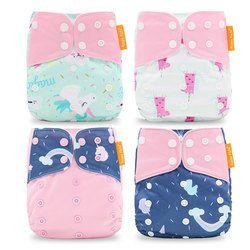 Happyflute Vente Chaude OS Poche Couche 4 pcs/ensemble Lavable et Réutilisable Bébé Nappy Nouveau Imprimer Réglable Bébé Diaper Cover