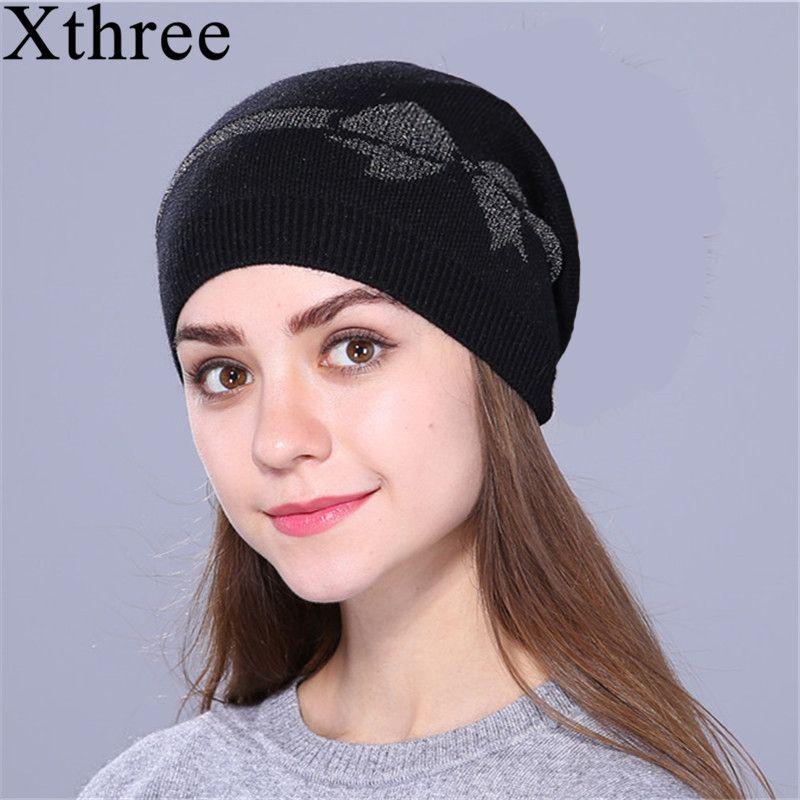Xthree femme automne printemps skullies bonnets mince tricoté chapeau pour femmes fille laine casquette cordon arc fille tout neuf