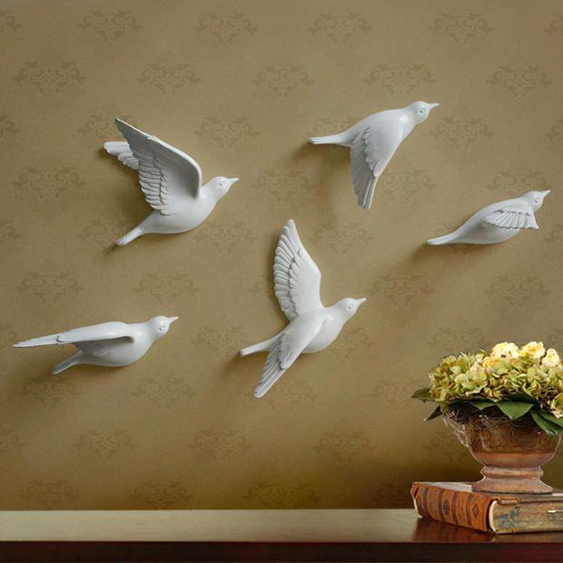 3D Pigeons Resin Hook Creative Home Room Decorative Tip Modern Accessories Bird wall hanging house Living room Door Ornamental