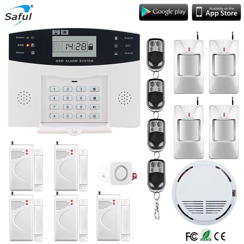 Pantalla LCD sistema de alarma de seguridad gsm Inglés/ruso/español/francés voz con cable sirena kit SIM SMS auto dialer PIR detecta