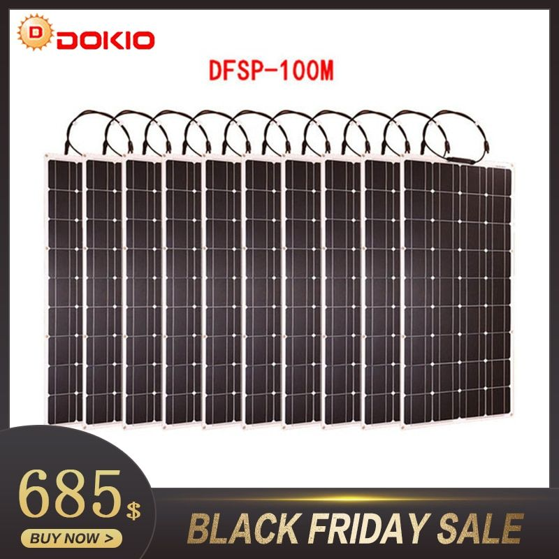 Dokio Brand 10p Flexible Solar Panel 100W Monocrystalline Waterproof Flexible Panel Solar 1000W For Motorhome/Camping/Boat/Car