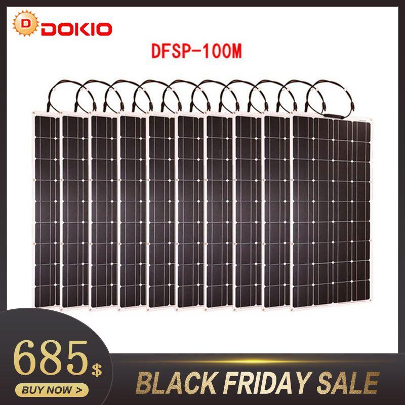 Dokio Marke 10 p Flexible Solar Panel 100 W Monokristalline Wasserdichte Flexible Panel Solar 100 0 watt Für Wohnmobil/ camping/Boot/Auto
