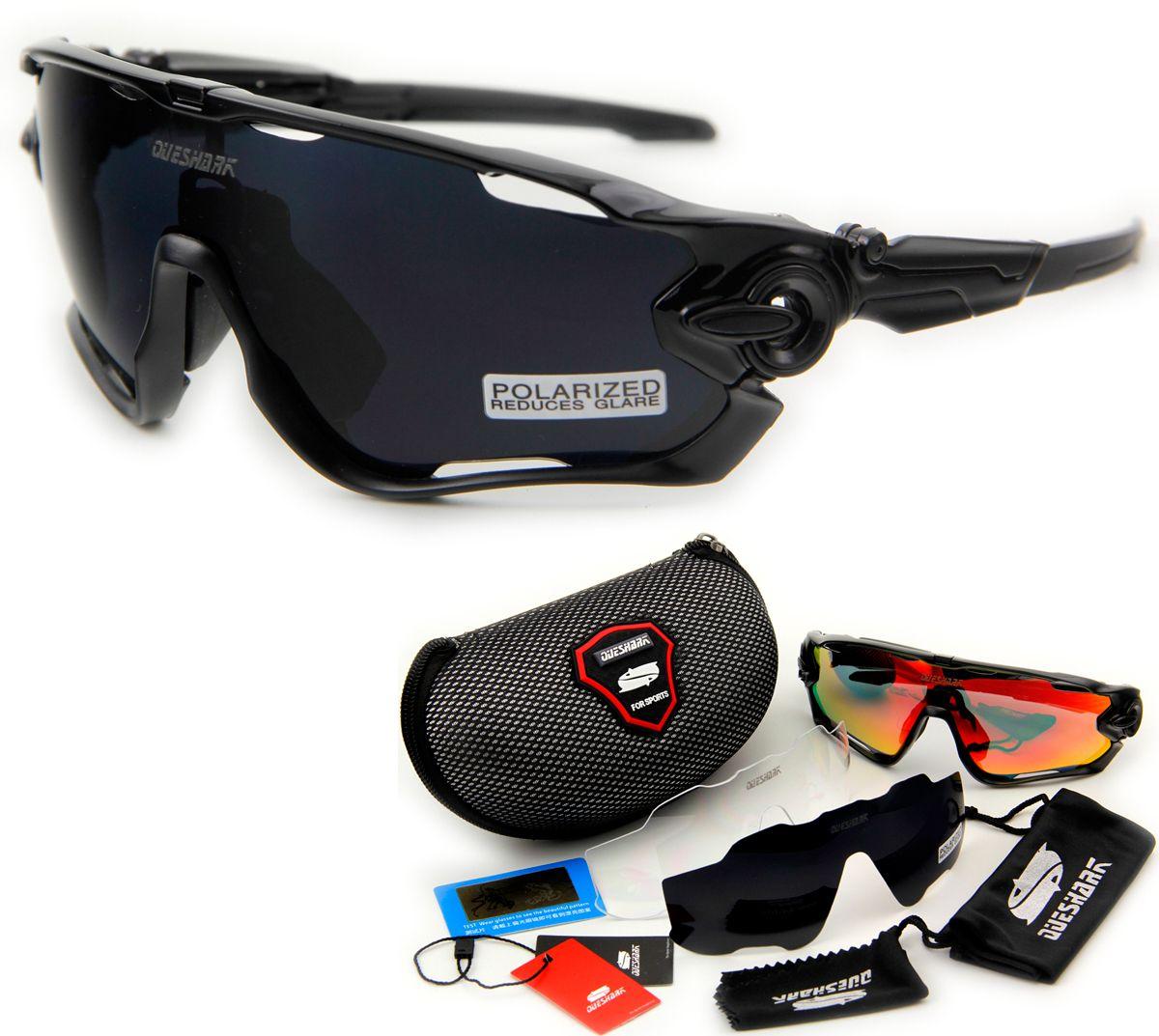 Queshark Marke Tour De France Polarisierte Sonnenbrille Radfahren Radfahren Brille Fahrrad Goggle 3 Para Objektiv Voll Red