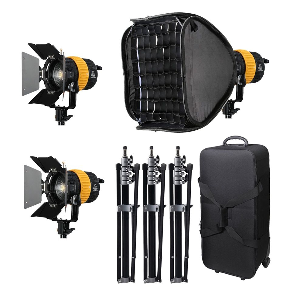 ALUMOTECH 3x80W LED V-lock Power+3 Stand +softbox 5500/3200K High CRI Spotlight For Video