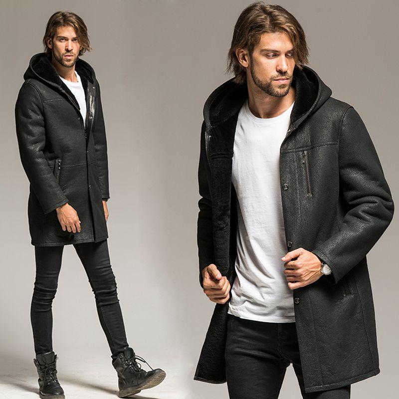 Jacket Men Shearling Coat Pilot Outerwear A long hooded male sheepskin fur coat