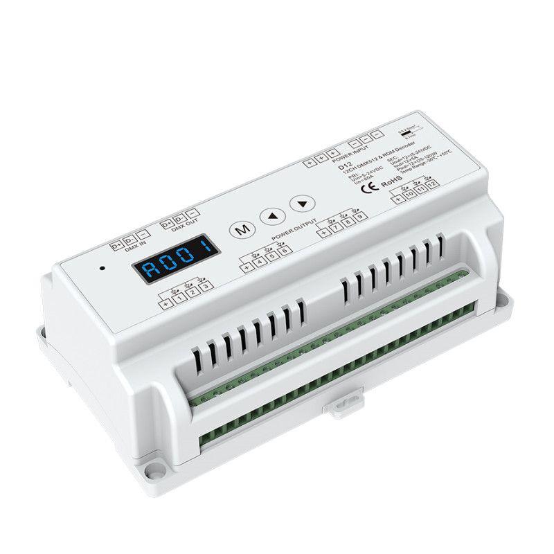 New D12 CV Led DMX512 Decoder Constant Voltage;DC5V - 24V input;5A*12CH output Din Rail 12 Channel DMX Decoder RGB strip Decoder