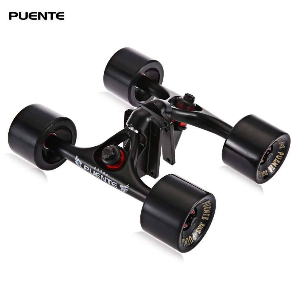 PUENTE New 2pcs/set Skateboard Truck with Skate Wheel Riser Pad Bearing Hardware Accessory Installing Tool for Skateboard