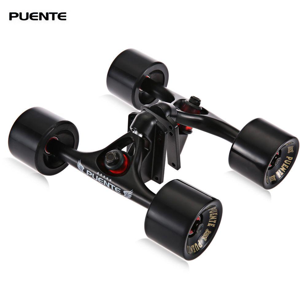 PUENTE New 2pcs/set <font><b>Skateboard</b></font> Truck with Skate Wheel Riser Pad Bearing Hardware Accessory Installing Tool for <font><b>Skateboard</b></font>