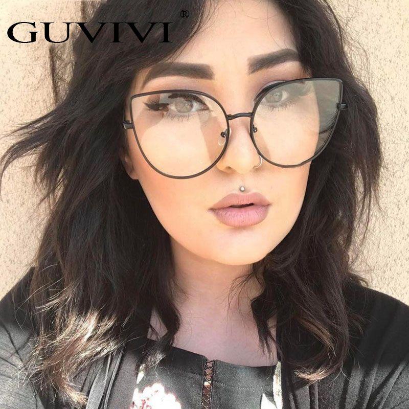 2017 GUVIVI New Fashion Women Rivet Cat Eye Eyeglasses Frames Unisex Optical Glasses Gold Black Silver Optical Frame GY-0817