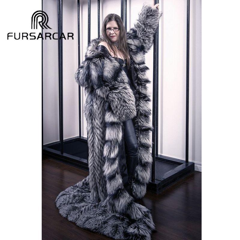 FURSARCAR Natürliche Frauen Echtes Silber Fuchs Pelz 160 CM Lange Weibliche Jacke Fuchs Pelz Mantel Mit Kapuze Starke Warme Echt pelz Mantel
