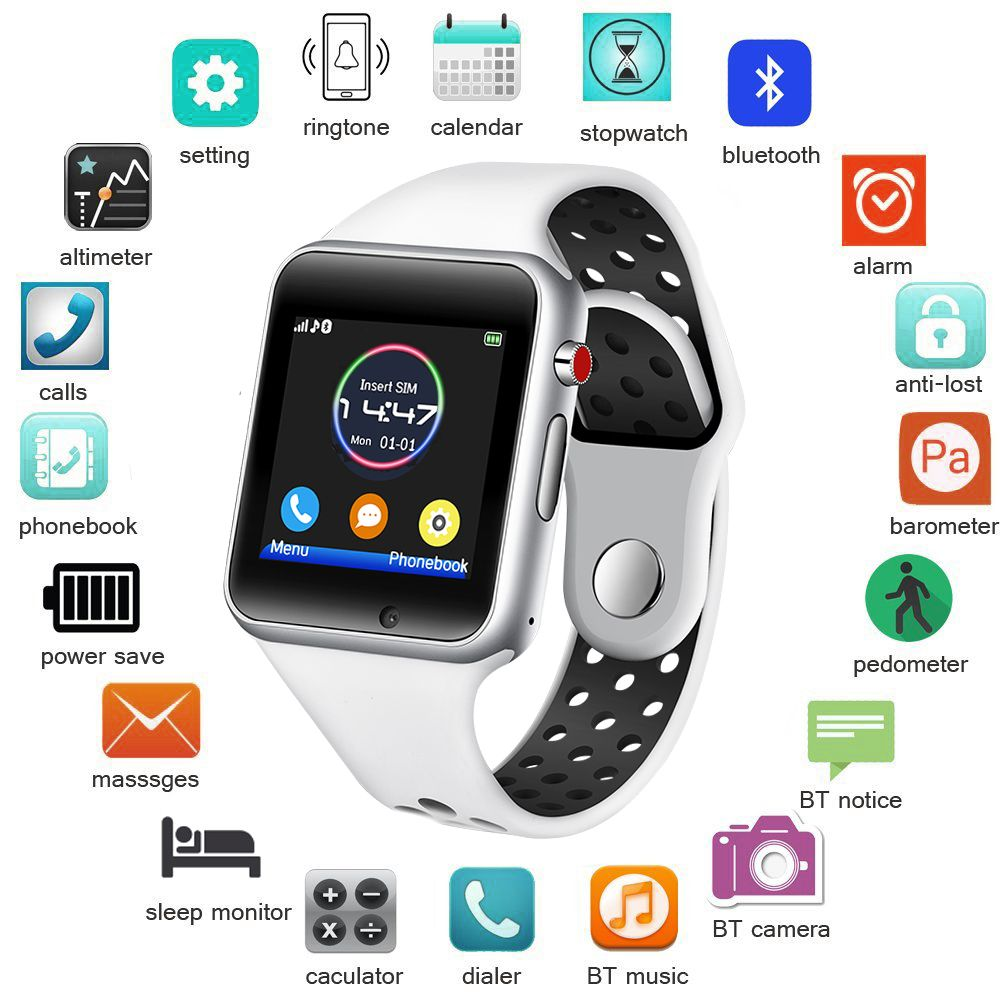 BANGWEI 2018 Nouvelle montre intelligente pour homme Femmes Sport Podomètre montre-bracelet numérique led SIM Caméra Lecteur de Musique Smartwatch Pour Android + Boîte