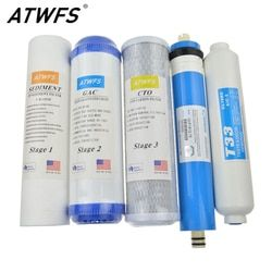ATWFS New Water Purifier 5 Stage Filter Cartridge 75 gpd RO Membrane Reverse Osmosis System Water Filters For Household