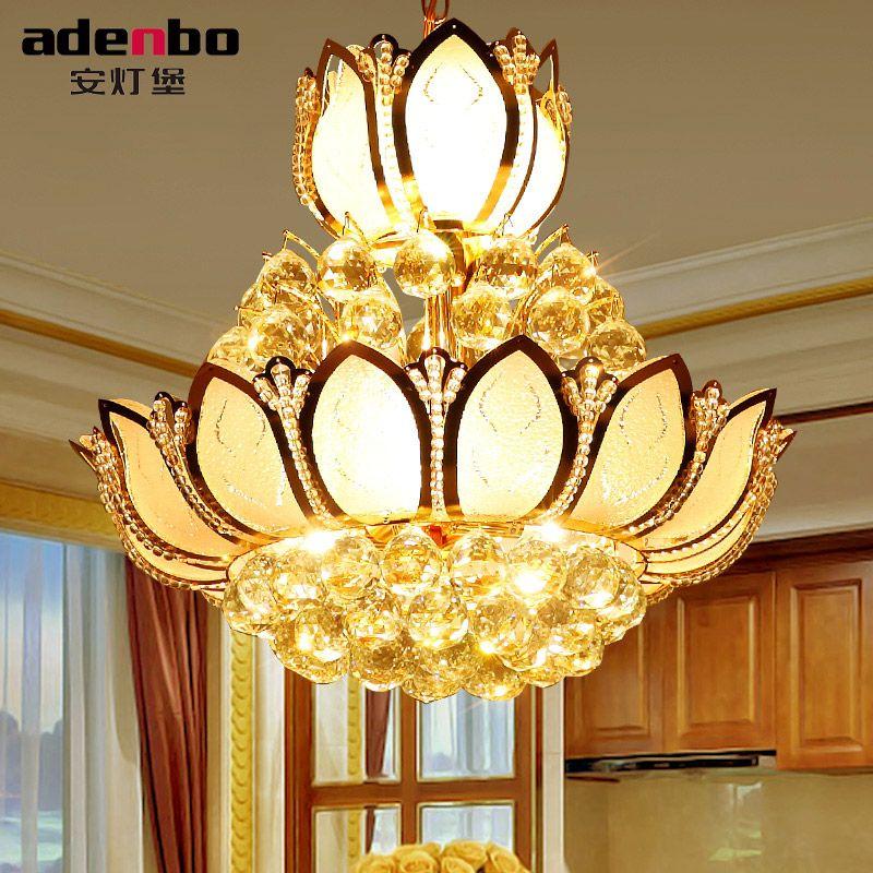 Lotus Blume Glas Gold Led-kristall-kronleuchter Lichter Deckenpendelleuchte 45 cm 50 cm Für Esszimmer Schlafzimmer Beleuchtung (ADB307)