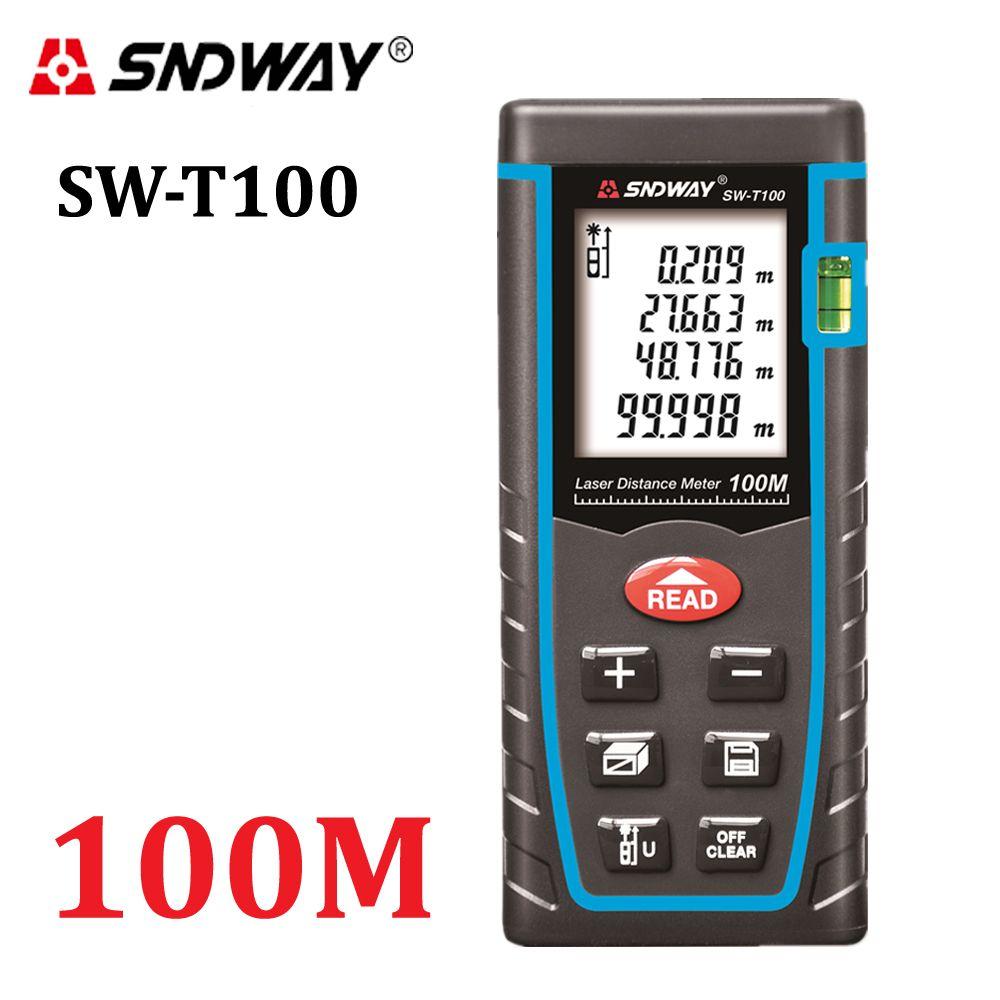 SNDWAY T100 laser distance mètre télémètre 100m 328ft trena laser bulle niveau télémètre bâtiment mesure ruban testeur outils