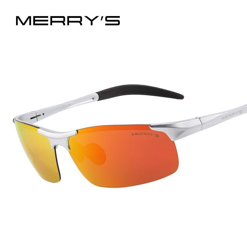 MERRY'S Men Polarized Sunglasses Aviation <font><b>Aluminum</b></font> Magnesium Sun Glasses For Fishing Driving Rectangle Rimless Shades S'8277