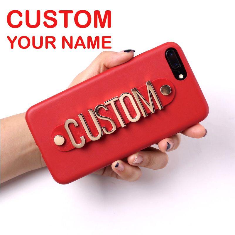Véritable cuir or métal luxe audacieux nom personnalisé texte Coque de téléphone Coque Funda pour iPhone 11 Pro Max 6S XS Max XR 7 7plus 8 8plus X