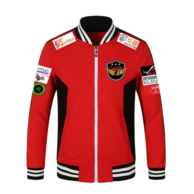 Print Type!!!LOL 2018 LCK SKT T1 S7 Team Jersey SK telecom T1 jacket SKTT1 Baseball Coat Men Faker Jacket Peanut Bang Coats