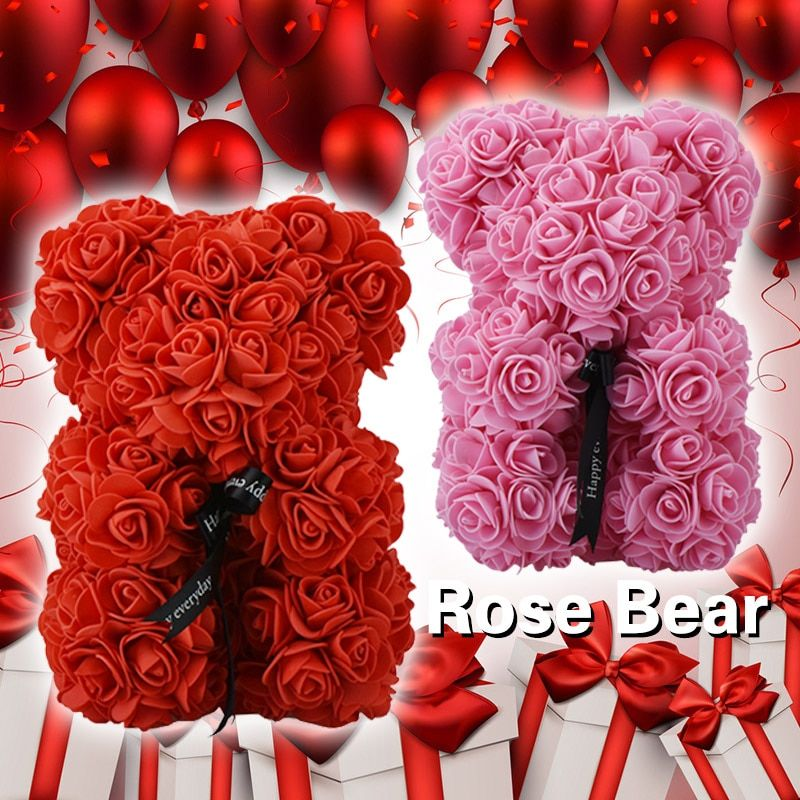 23cm tedd bear of roses red and pink toy bear with bow artificial roses tedy bear for Valentine Christmas gift dropshiping 2018