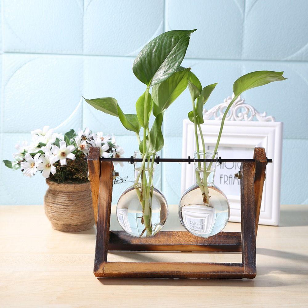 Glass Wood Vase Planter Terrarium Table Desktop Hydroponics Plant Bonsai Hanging Flower Pot with Wooden Tray Home Decoration