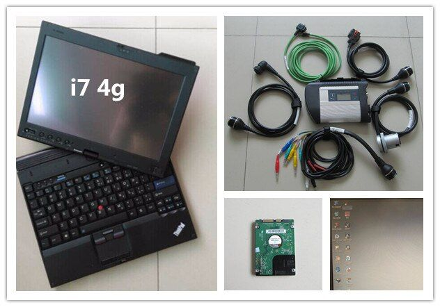 mb star diagnosis c4 with newest software hdd installed in laptop thinkpad x201t i7 4g touch screen full set for 12v 24v scanner