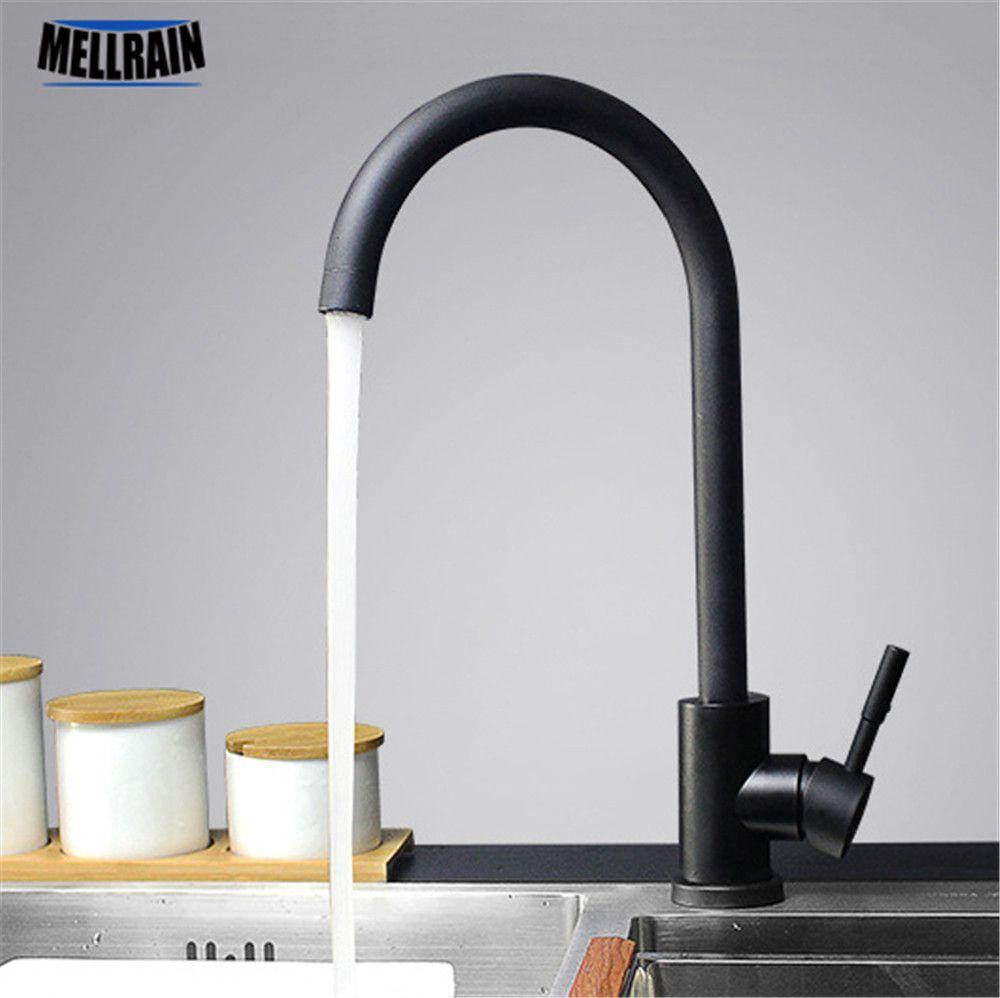 Черного и белого цвета 304 нержавеющая сталь смеситель для кухни двойной раковина вращения кухня водопроводной воды