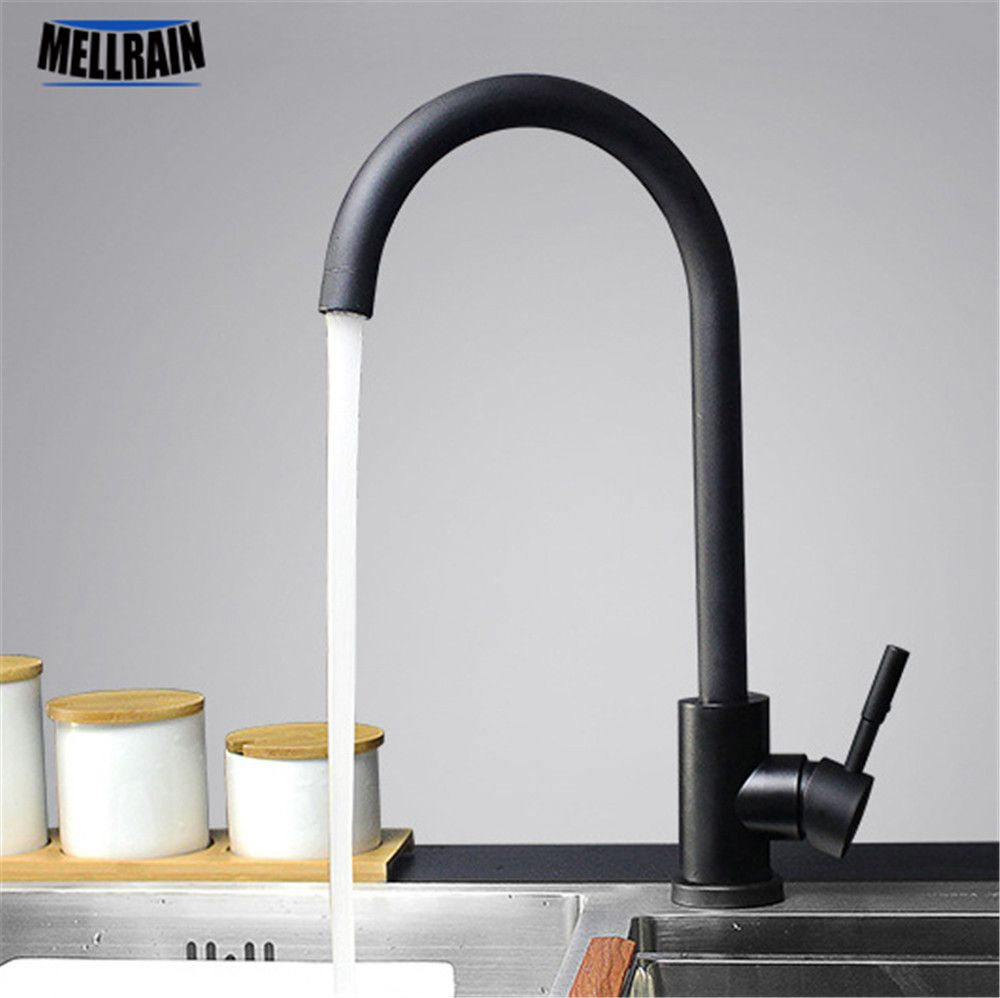 Black and white color 304 stainless steel kitchen faucet mixer dual sink rotation kitchen water tap
