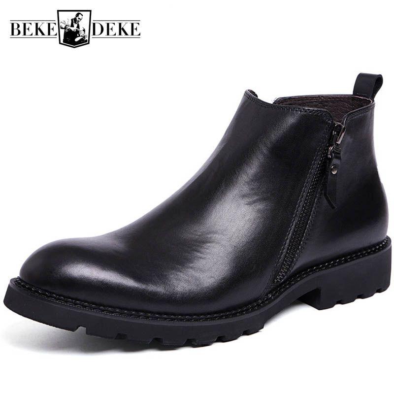 Winter Fleece Futter Warme Herren Stiefeletten Zipper Britischen Echt Kuh Leder Ritter Stiefel Schwarz Business Mann Formale Schuhe Schuhe