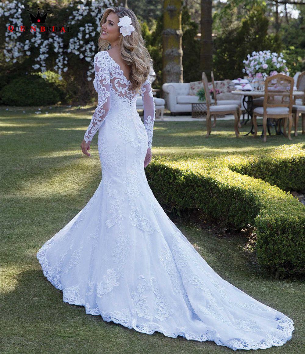 Sexy Hochzeit Kleid Meerjungfrau Lange Hülse Spitze Perlen Appliques Gorgesous 2019 Neue Design Braut Kleider Nach Maß WH64M