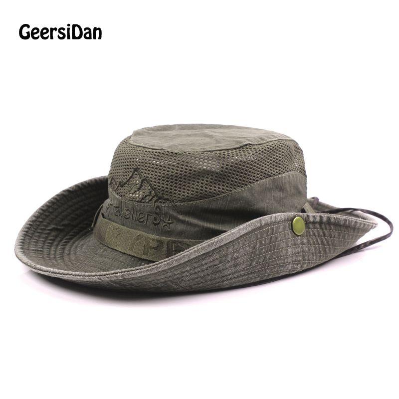 GEERSIDAN nouveau coton été printemps hommes seau chapeaux grand large bord pêche chapeaux pour hommes femmes randonnée Sombrero Gorro mâle chapeau de soleil