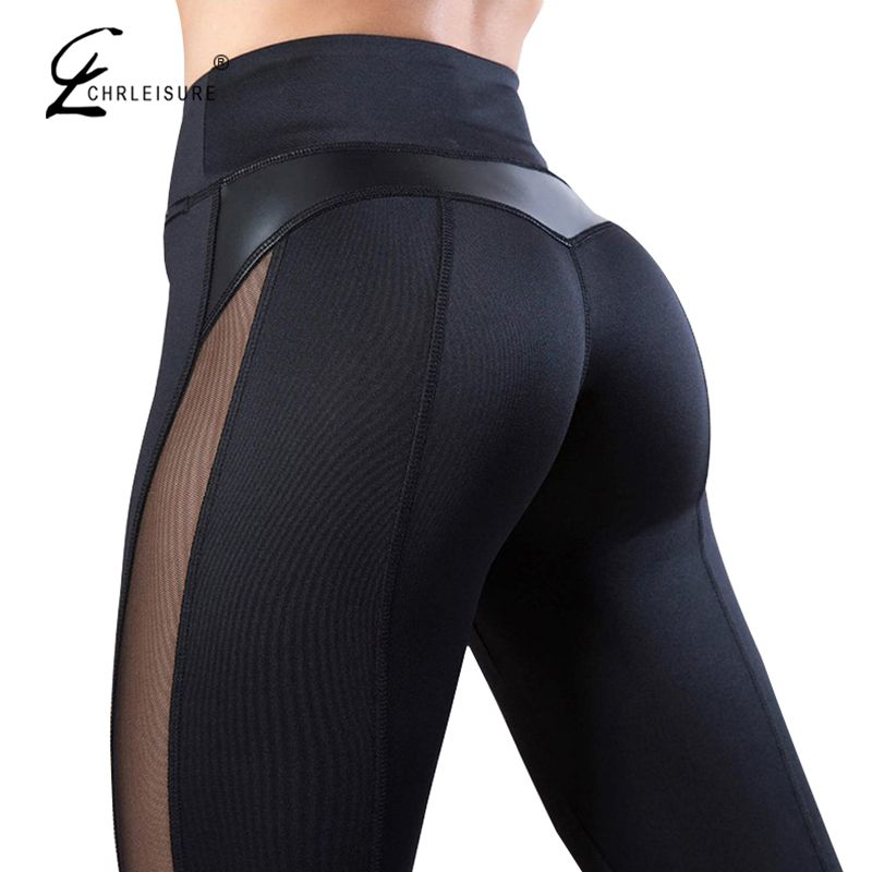 CHRLEISURE Solid High Waist Fitness Legging Women Heart Workout Leggins Femme Fashion Mesh And PU Leather Patchwork Leggings