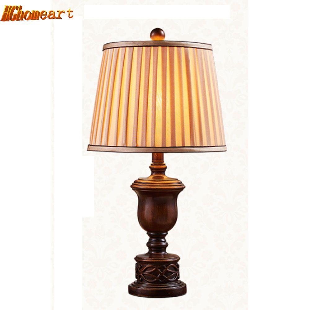 HGHomeart Wood Desk Lamp LED European Retro Luminaria Mesa Study Reading Bed Light Romantic Table Lamps E27 110V/240V Lighting