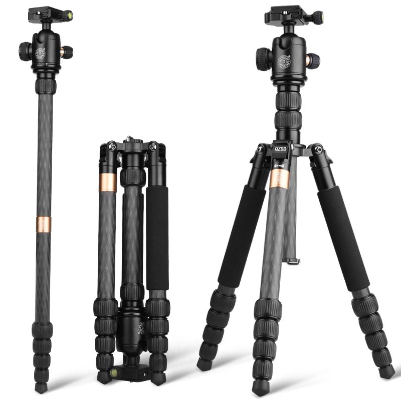 high purity carbon fiber Q668C kamera stative & lightweight camera tripod 1560mm only 1.33kg tripod stand with monopod and head