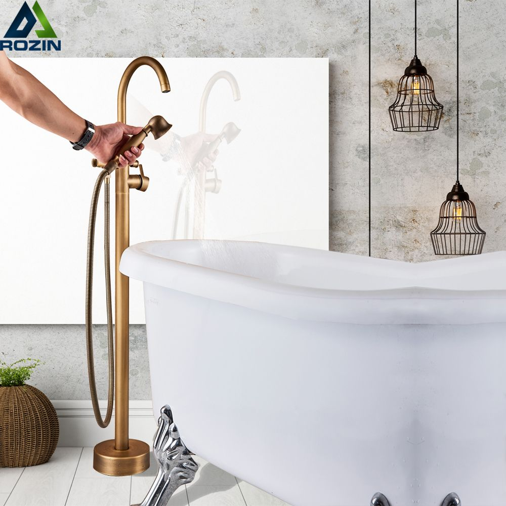 Antique Brass Floor Mount Bath Tub Faucet Single Lever Swivel Spout Bath Shower Mixer Tap Free Standing Claw Foot Bathtub Faucet