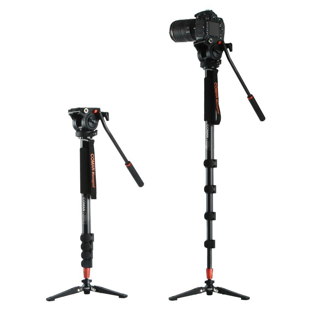 Coman KX3232 Aluminum Alloy Tripod Video Monopod with Fluid Pan Head + 3 Feet Support Unipod Holder for Canon Sony Nikon DSLR