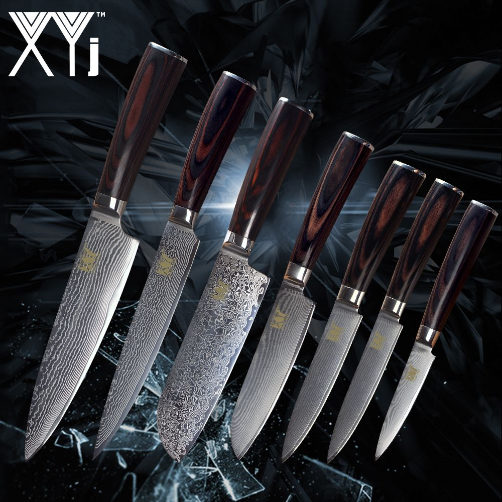 XYj Kitchen Cooking Knife Damascus Knives VG10 Core 7 Pcs Sets Japanese Damascus Steel Kitchen Cooking Tools New Arrival 2018